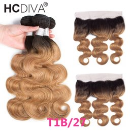 Honey blonde two tone Hair weave online shopping - Ombre Bundles With Frontal Malaysian Raw Virign Body Wave Ear To Ear Frontal With Bundles Two Tone Honey Blonde Human Hair Weave