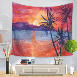 Wall Curtains Australia - 150*130cm Plant Coconut Trees Print Tapestries Wall Hanging Blanket Beach Towel Bedroom Wall Decorative Carpet Curtain for Living Room