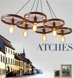 Vintage metal wheels online shopping - Newest Hot Russia Pendant Light Vintage Industrial Lamp Nordic Metal Wheel Lights Loft Dining Room Lighting led lights chandelier lighting
