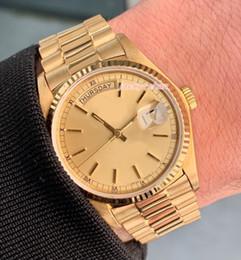 Luxury Men Watch 18k Australia - Upgraded version Luxury mens watch 36mm Day Date President 18038 18k Yellow Gold Automatic Eta .2813 Movement men watches