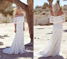 Short Plus Size Camo Wedding Dresses Australia - Elegant Beach Boho Wedding Dresses Full Lace New 2019 Bateau Neck Sweep Train Short Sleeves Cheap Bohemian Country Bridal Gowns Plus Size
