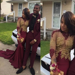 Wholesale new fashion african lace dresses resale online - New Fashion Black Girls Burgundy Mermaid Prom Dresses K19 Elegant Gold Appliques Illusion Long Sleeves Formal African Evening Party Gowns