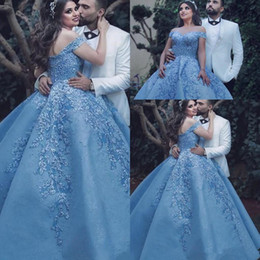 glamorous quinceanera dresses 2019 - Luxury Sky Blue Quinceanera Dresses Pearls Appliques Prom Dresses Off Shoulder Lace Celebrity Party Gowns Glamorous Duba