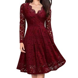 $enCountryForm.capitalKeyWord UK - Feitong V-Neck Off Shoulder Dress For Women Ladies Lace Formal Evening Party Dresses 2019 Long Sleeve Vintage Elegant Dress