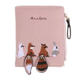 $enCountryForm.capitalKeyWord NZ - Women Leather Standard Wallets Women Fox Embroidery Short Wallet Card Holder Zipper Hand Bag Coin Purse Pocket Pouch Wallet Bags