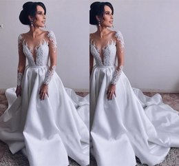 $enCountryForm.capitalKeyWord Australia - Modest 2019 Vintage lace long sleeves ball gown wedding dresses sheer neck illusion 3D appliques church satin formal bridal wedding gowns