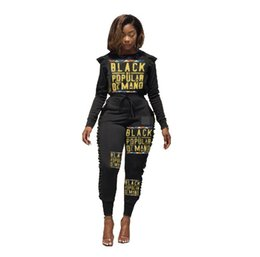 Chinese  Autumn Winter tracksuit Black Letter Print Women 2 Piece Set outfit fashion Long Sleeve Hoodie Top and Pants Casual Outfit Sweatsuits Hot manufacturers