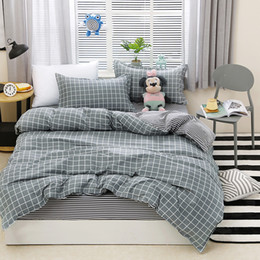 $enCountryForm.capitalKeyWord Australia - Grey Plaid Adult Duvet Cover Sheet Quilt Comforter Pillow Case Bedding Set Queen King Big Size Bed Linen 24