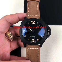 $enCountryForm.capitalKeyWord Australia - Luxury High Quality Watch 44mm 1950 GMT PAM441 PAM00441 441 Ceramic Transparent Mechanical Automatic Mens Watch Watches Wristwatches