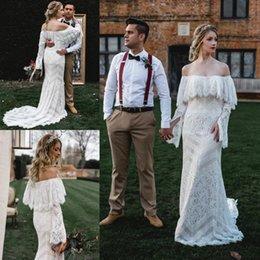 $enCountryForm.capitalKeyWord Australia - Mermaid Country Bohemian Wedding Dresses 2019 New Full Lace Off The Shoulder Long Sleeve Bridal Gowns
