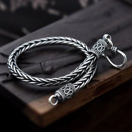 $enCountryForm.capitalKeyWord Australia - Vintage Real Pure 925 Sterling Silver Handmade Braided Chain Bracelet For Men Jewelry Mens Bracelets 2017