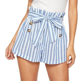 Blue Sashes Belts Australia - SHEIN Blue and White Paper-bag Pleated Waist Buttoned Belt Knot Striped Shorts Women Summer Highstreet Preppy Casual Mini Shorts