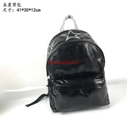 Chinese  Men's Backpack Black Silver Leather Double Carpool Five Stars Tide Fashion New off-w1520 manufacturers