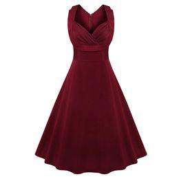 7c1a998aa Kenancy Women Plus Size S~4XL Cotton Stretchy Vintage Dress Sleeveless Retro  Rockabilly Audrey Hepburn Big Hem Feminino Vestidos Y19012102