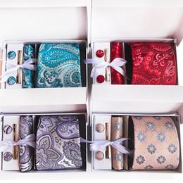 $enCountryForm.capitalKeyWord Australia - Upscale Neckties Paisley Floral Ties Set Men Tie CuffLinks Hanky Tie Clip Gift Box Set Packing Wedding Gift Festival Gift