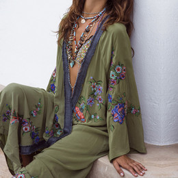 $enCountryForm.capitalKeyWord Australia - 2019 Summer Floral Embroidered Beach Maxi Dress Bishop Long Sleeve For Women Vintage Boho Chic Style Loose Cover up Long Dresses