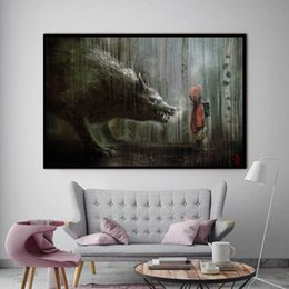 $enCountryForm.capitalKeyWord Australia - 1 Piece Graffiti Canvas Street Art Little Child With A Wolf Canvas Pictrues Oil Art Paintings For Home Decoration No Framed