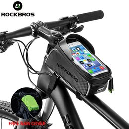 accessories water bag NZ - ROCKBROS Bicycle Bag Waterproof Touch Screen Cycling Bag Top Front Tube Frame MTB Road Bike Bag 6.0 Phone Case Bike Accessories