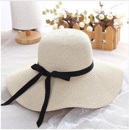 Garden Blocks Australia - summer straw hats women big wide brim beach hat foldable sun block UV protection panama hat bone chapeu feminino
