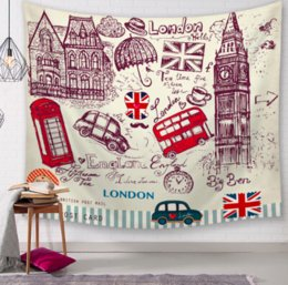 london home decor UK - Vintage I Love London Decor Tapestries Bathroom Outdoor Tapestry Wall Hanging Sheet Picnic Cloth Home Decor Tablecloth