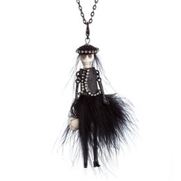 Wholesale mexican long dresses for sale - Group buy New Party Halloween Skull Head Necklace Black Red Feather Dress design Doll Pendant Long Chain Necklace Fashion Jewelry