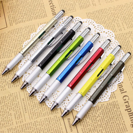 Cheap Note Pen Australia - Wholesale Cheap Plastic Promotional Multifunctional Scale Screwdriver Horizontal Capacitor RulerTouch Screen Stylus Scale Gift Tool Pen