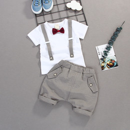 shirt kids Australia - Toddler Boys Clothing Set Summer Baby Suit Shorts Shirt 1 2 3 4 Year Children Kids Clothes Suits Formal Wedding Party Costume T191006
