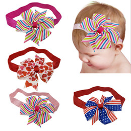 9d639ad2644f Blue Striped Bow Headband UK - Bow Headbands Baby Children Hair Sticks  Elastic Kids Hair Accessories