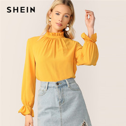 eb3148dcae frill sleeve top 2019 - SHEIN Frill Neck And Cuff Keyhole Back Top Ginger  Ruffle Blouses