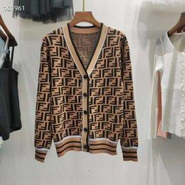 Wholesale women long summer cardigans resale online - 512 Summer Brand Same Style Sweater Khaki Regular Long Sleeve V Neck Cardigan Print Panelled Runway Sweater qian