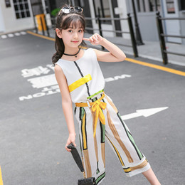 Designs Girls Shirts New Australia - 2019 Summer new Girls Clothing Sets Fashion Girls Sleeveless Splicing Design T-shirt+Casual Pants 2Pcs Girls Clothes