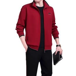 $enCountryForm.capitalKeyWord Australia - Zipper Cardigan Running Long Pants & T Shirt 3 Pieces Tracksuits Men Warm Up Clothes Plus Size Men's Sportswear Grey Black Red Wine #901