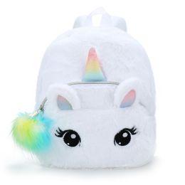 3d fashion bag online shopping - Women Girls Fashion Casual Rucksack Cute Cartoon Knapsack Plush Unicorn Backpack D Fluffy Mini Bags School Backpacks For Baby Kids M791F