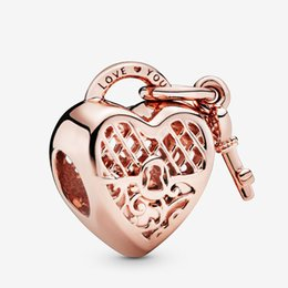 flowers rose white love Australia - Fit Pandora Bracelet Charm Rose Gold Love You Hea Charm Authentic Sterling Silver 925 Pendant Charms Beads European Charms DIY Style Jewelry