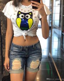 Discount owl shirt women - Fashion Vintage Summer T Shirt Women Clothing Tops Beading Diamond Sequins Animal Owl Print T-shirt Woman Clothes plus s