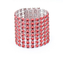Party Napkin Holders UK - Wholesale- 20pcs 8 Rows Red Diamond Mesh Wrap Napkin Ring Serviette Buckle Holder For Wedding Party Birthday Table Decoration