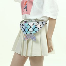 Big Ladies Handbags Australia - 4styles Mermaid Tail Waist Bag Fish Tail Shaped Belt Waist Pack Glitter Beach Fashion Kids Lady Pack Coin Phone PouchChildren Handbag