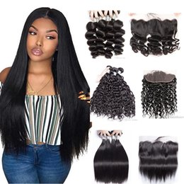 34 inches hair Australia - Peruvian Body Wave Bundles with Lace Frontal Brazilian Deep Wave Kinky Curly Virgin Human Hair Weave 3 4 Bundles with Frontal Weaves Closure