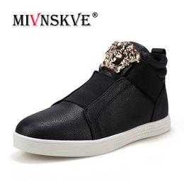 Dance shoes men online shopping - MIVNSKVE Man Casual Leather Shoes Lace Up High Top Gold Punk Rock Metal Rivets Designer Man Flats Shoes Street Dance Boots