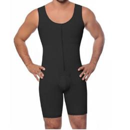 Discount strapless shapewear - Invisible Zipper Front Mens Shaper 2019 New S-6xl Plus Size Strapless Bodysuit Men Shapewear Full Body Shapers For Men S