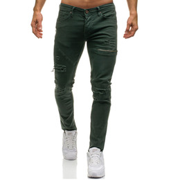 Wholesale dark green jeans men resale online - Mens Ripped Stretch Black Jeans Fashion Designer Slim Fit Washed Motocycle Denim Pants Panelled Hip Hop Zipper Trousers