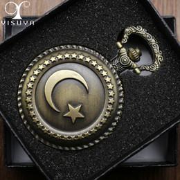 Quartz Box Australia - Retro Pocket Watch Turkish Flag Design Moon and Star Theme Quartz Round Fob Watch with Necklace Chain Clock+ Gift Box