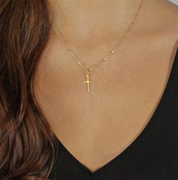 $enCountryForm.capitalKeyWord Australia - New Summer Gold Chain Cross Necklace Small Gold Cross Religious Jewelry Women's necklace Perfect Gift T132