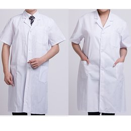 Wholesale Summer Unisex White Lab Coat Short Sleeve Pockets Uniform Work Wear Doctor Nurse Clothing KNG88