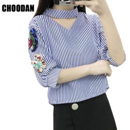 Korean Floral Shirt Wholesale Australia - Women Blouse Shirt Sequined Embroidery V-neck Chocker Nice Korean Fashion Summer Striped Shirt Lady Top Casual Female Clothing