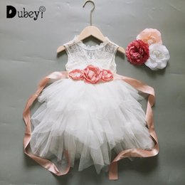 vintage tutus for girls UK - Little Girl Vintage Dress for Kids Lace Flower Dress with Sashes Elegant Flower Girls 3 Layers Tutu Party Gown Clothing