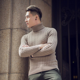 Wholesale collar knitwear for sale – oversize Mens Sweaters Fall Winter Thick Warm Cashmere Sweater Men Turtleneck Mens Sweaters Slim Fit Pullover Men Knitwear Double collar