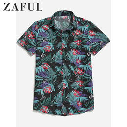 Wholesale ditsy print for sale – winter ZAFUL Hawaii Tropical Plant Floral Print Beach Casual Shirt Men S Short Sleeve New Vacation Style Ditsy Leaf Print Holiday Shirt