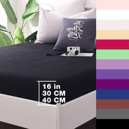 Elastic Beds UK - Custom 600TC Cotton Luxury Solid Fitted Sheet Bedsheet Bed Sheet With Elastic Band 1PCS Bedding Sheets 160x200 90x200 Black