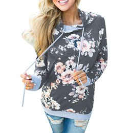 $enCountryForm.capitalKeyWord NZ - Printed Floral Hoodies Women 2019 Autumn Winter New Fashion Casual Gray Hooded Sweatshirt Female Long Sleeve Pullovers T190606
